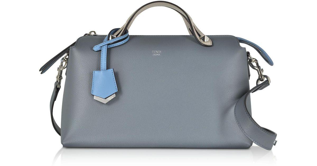 c1debb5d637d Lyst - Fendi By The Way Regular Tempesta Blue Leather Small Satchel Bag in  Blue