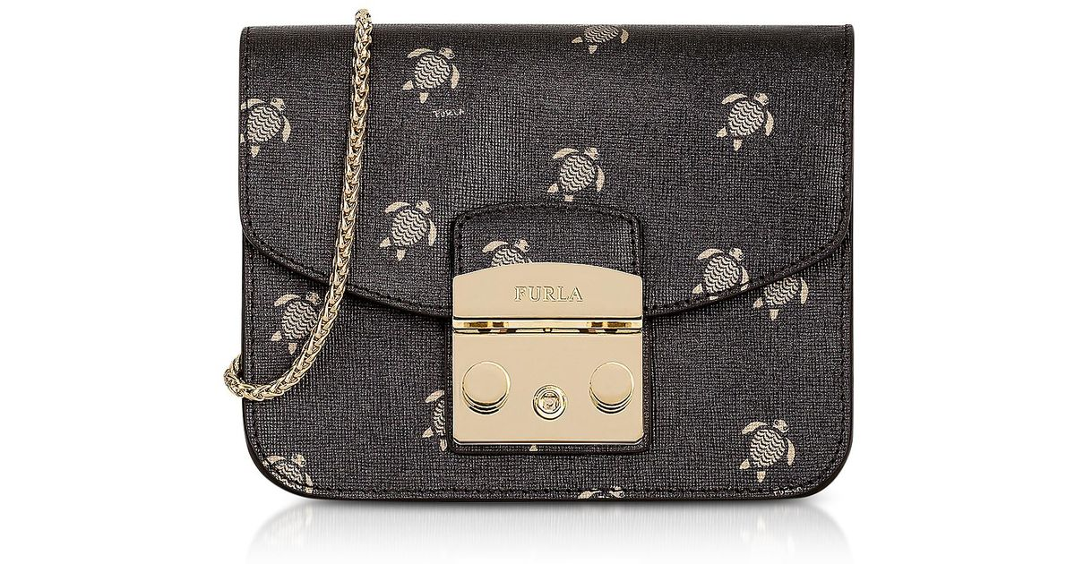 e208db162eea Lyst - Furla Toni Onyx Mini Turtle Printed Saffiano Leather Metropolis Mini  Crossbody Bag in Black