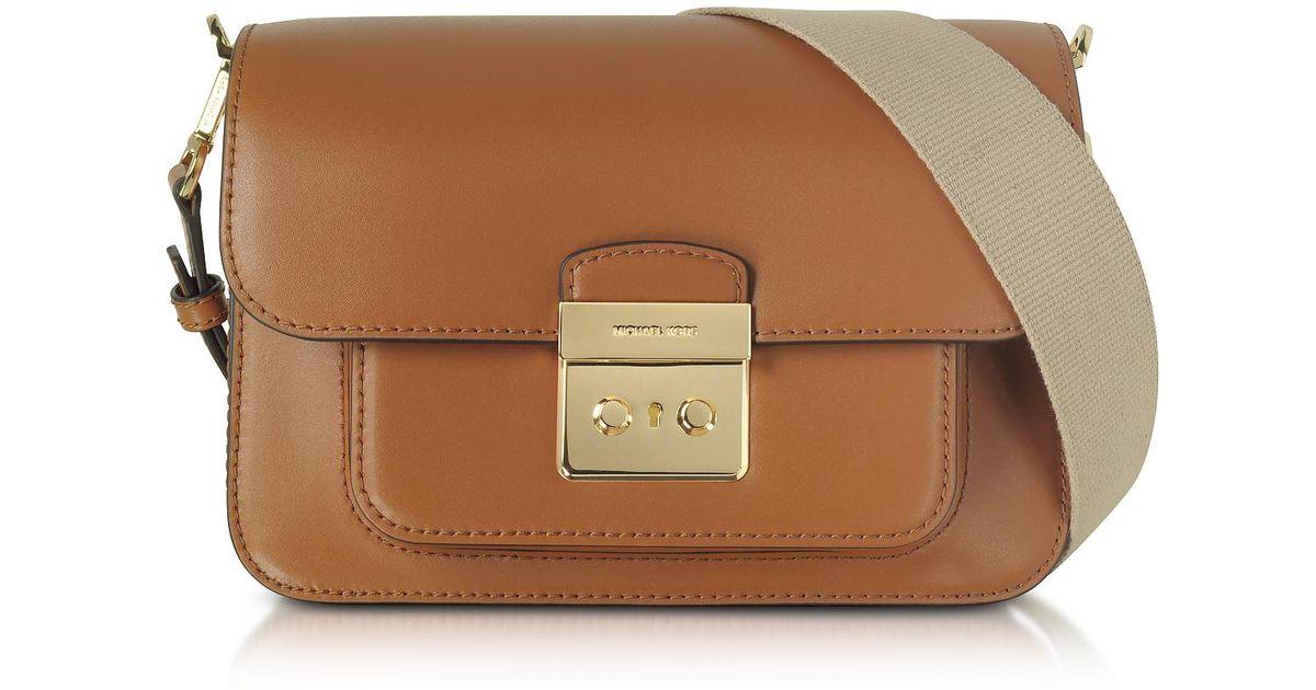 f0bef9b964437 Lyst - Michael Kors Sloan Editor Large Acorn Leather Shoulder Bag in Brown