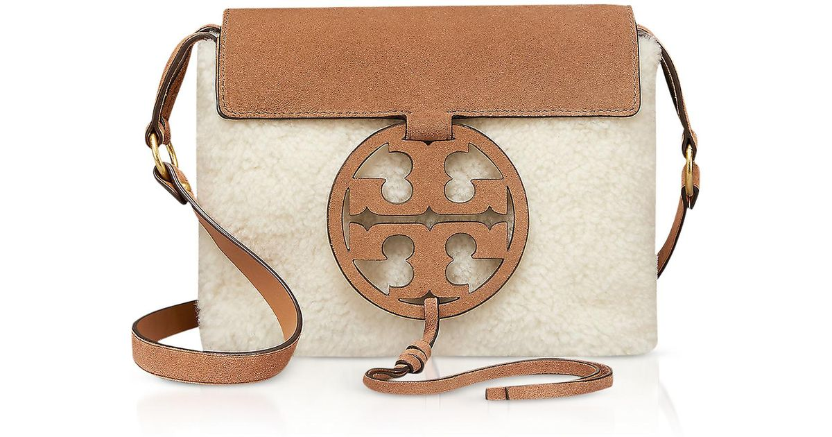 39e7d3c1b6ef Tory Burch Festival Brown Shearling And Leather Miller Crossbody Bag in  Natural - Lyst
