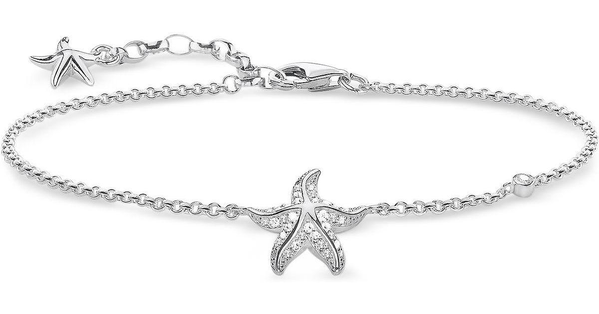 Lyst Thomas Sabo Sterling Silver Starfish Bracelet W White Zirconia In Metallic