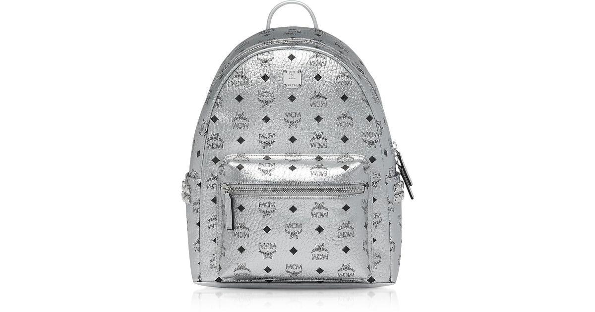 bd729cf1107b8 Lyst - MCM Berlin Silver Side Studs Visetos Stark Backpack 37 in Metallic  for Men