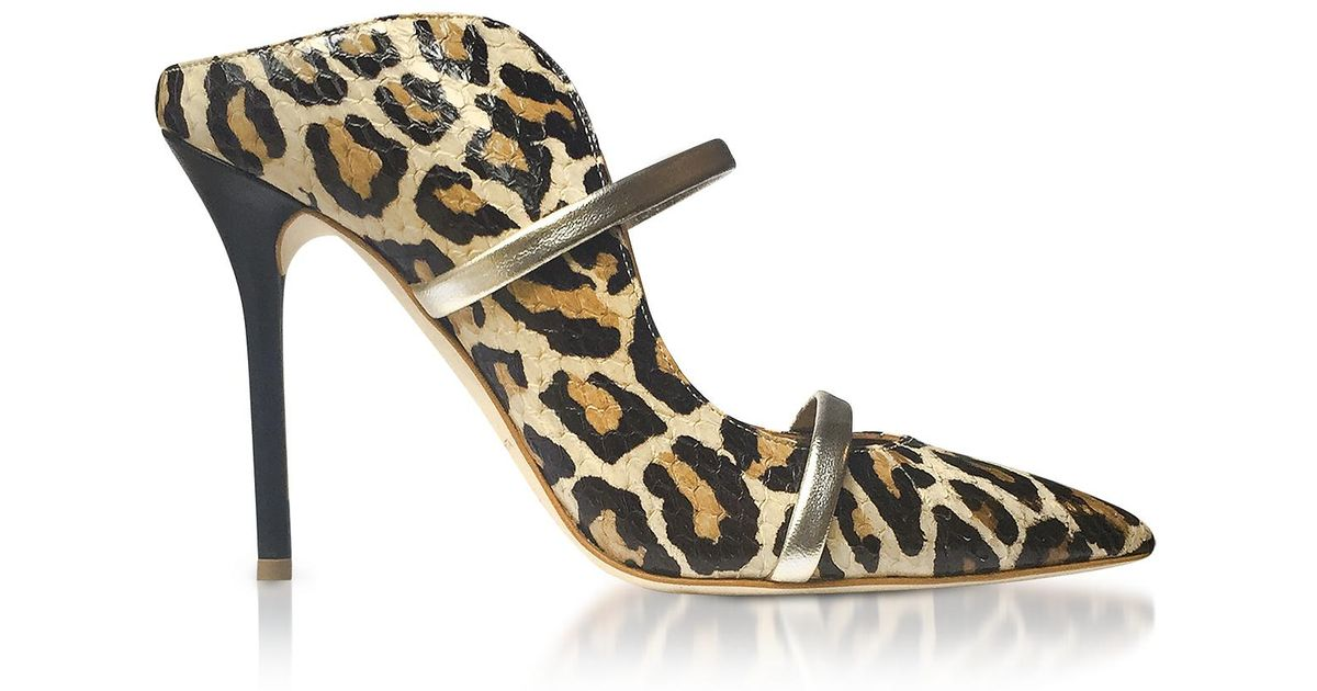 Maureen Leopard Mule Shoes in Red Leopard and Lemon Drop Elaphe and Nappa Leather Malone Souliers Nop52A
