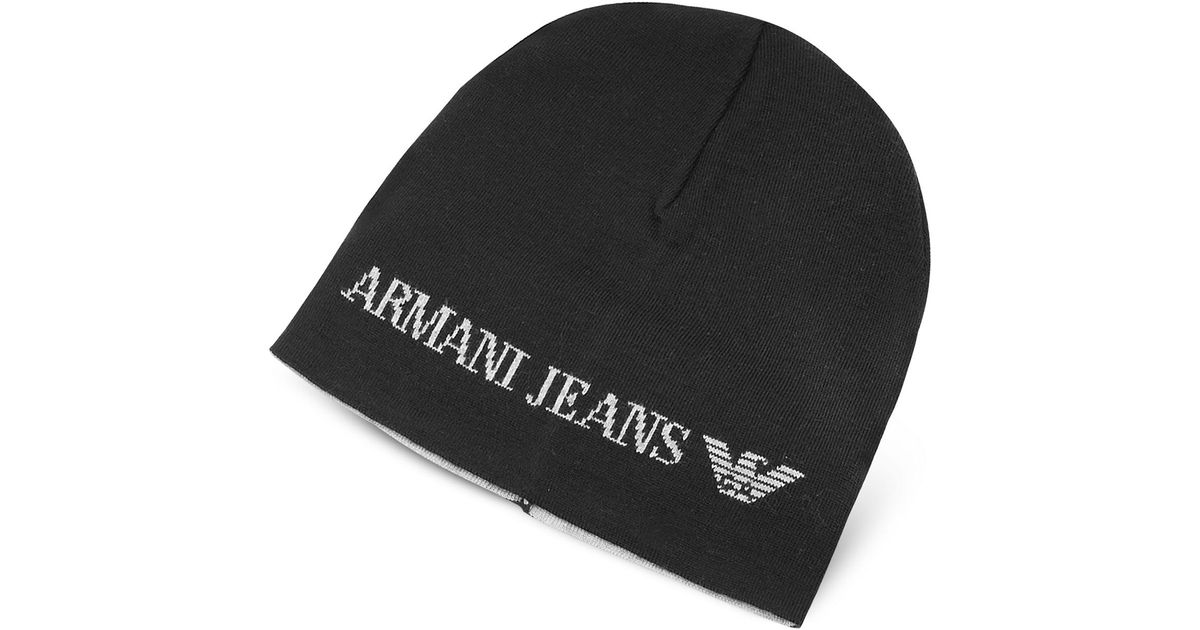 Lyst - Armani Jeans Solid Wool Blend Men s Beanie Hat in Black for Men acf8b6f5883