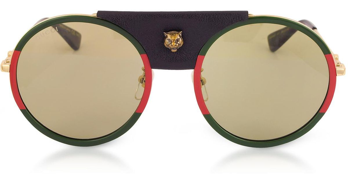 f034d6adfe7 Lyst - Gucci GG0061S Round-frame Gold Metal And Black Leather Sunglasses W sylvie  Web Trim in Metallic