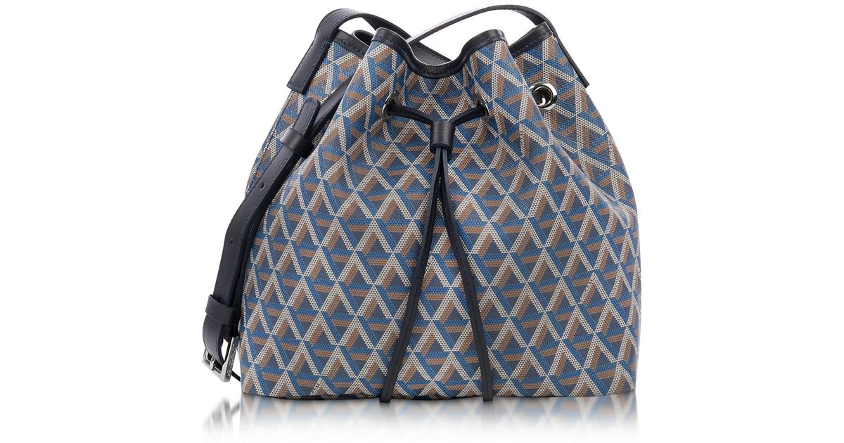 8a1c52d50b75 Lyst - Lancaster Paris Ikon Small Coated Canvas Bucket Bag in Blue