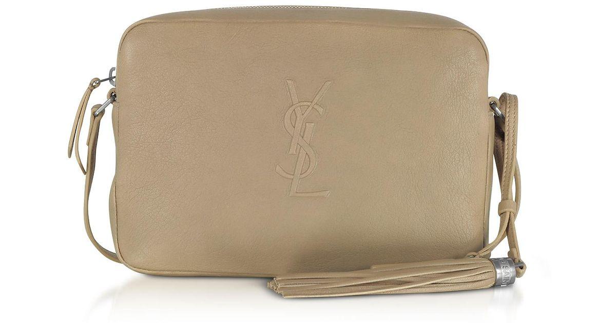 5cbe290a80e Saint Laurent Small Lou Dark Beige Leather Camera Bag in Natural - Lyst