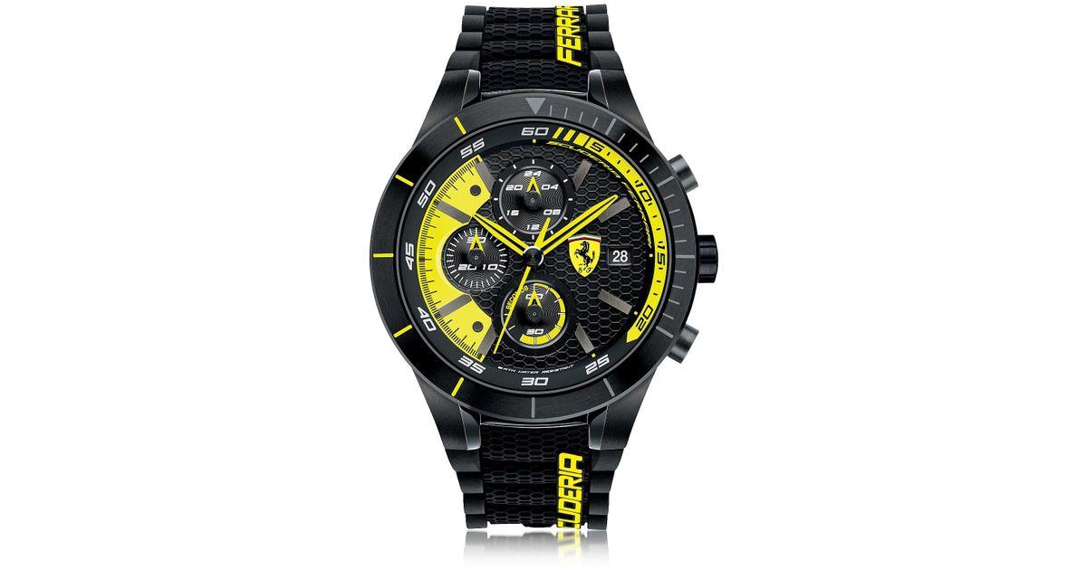 163cb7b4f74b Lyst - Reloj Cronógrafo Roja Rev Evo Caja de Acero Negro y Amarillo y  Correa de Silicone Ferrari de hombre