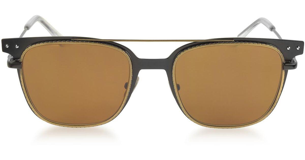 e94d76538a76d Bottega Veneta Bv0095s 002 Black Metal Frame Men s Sunglasses in Black for  Men - Lyst