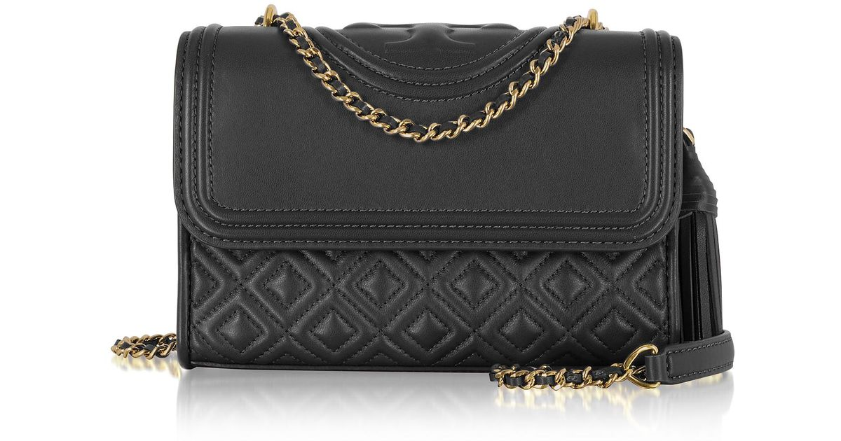67a9caec553d Tory Burch Fleming Black Leather Small Convertible Shoulder Bag in Black -  Lyst