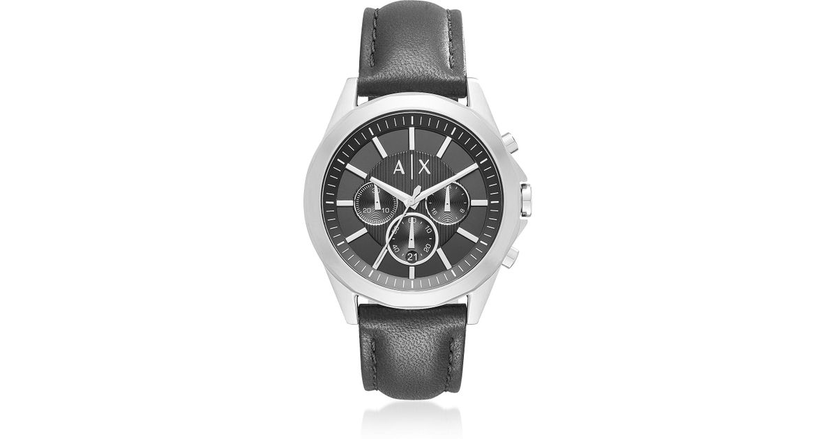 680722caffe Lyst - Armani Exchange Drexler Black Dial With Black Leather Men s  Chronograph Watch in Metallic for Men