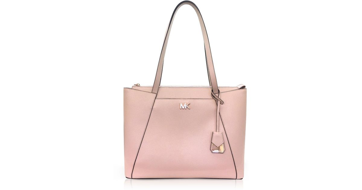 2d4600ad281504 Michael Kors Soft Pink Maddie Medium Crossgrain Leather Tote in Pink - Lyst