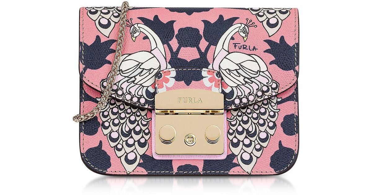 abbc2aae2fb1c Lyst - Furla Toni Orchidea Floris Printed Leather Metropolis Mini Crossbody  Bag