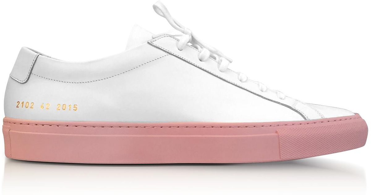 cf6ec3e725a8 Lyst - Common Projects White Leather Achilles Low Top Women s Sneakers  W blush Rubber Sole in White