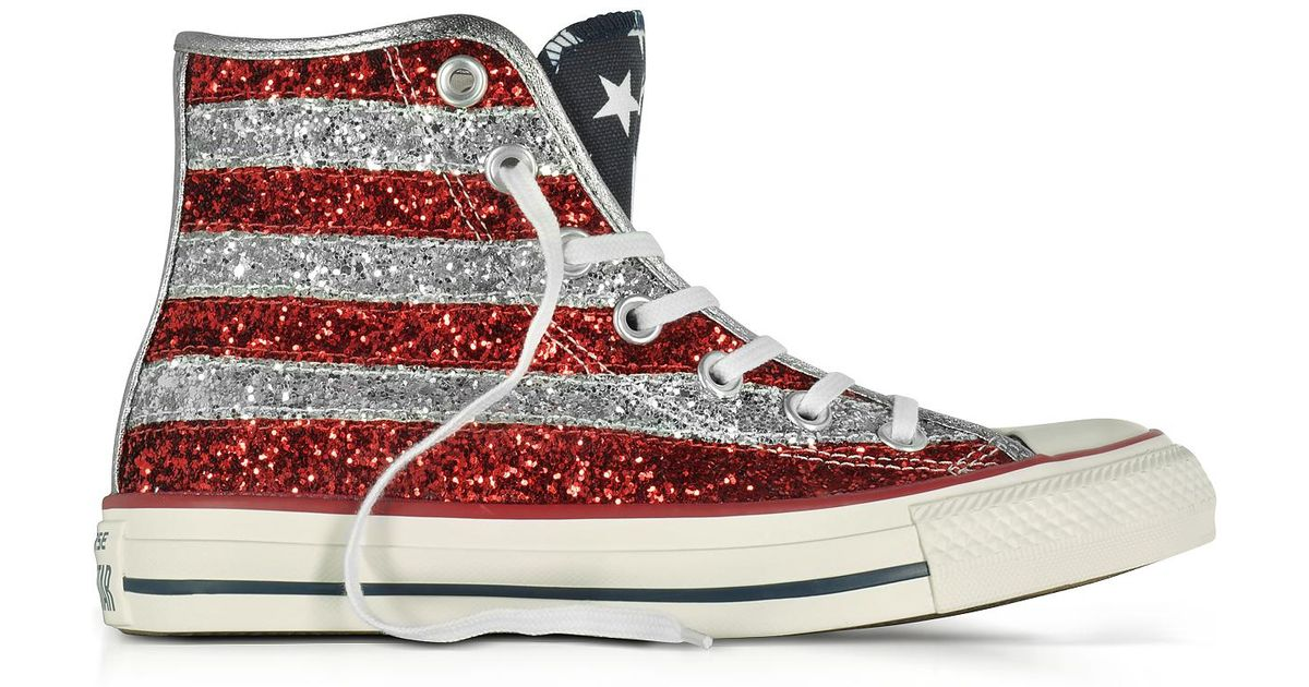 2398437fa23138 Lyst - Converse Chuck Taylor All Star Hi Silver And Red Glitter Sneakers in  Metallic
