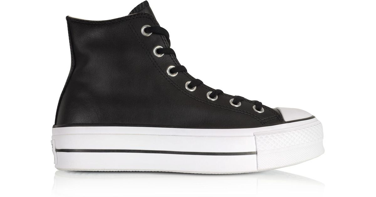 c7646c95ef64 Lyst - Converse Chuck Taylor All Star Lift Clean Black Leather High Top  Platform Sneakers in Black