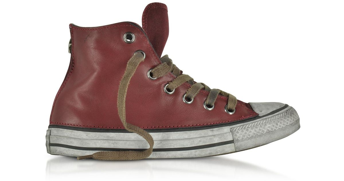 9c6b59c9ab2f Lyst - Converse Chuck Taylor All Star High Vintage Red Leather Ltd Unisex  Sneakers in Red for Men