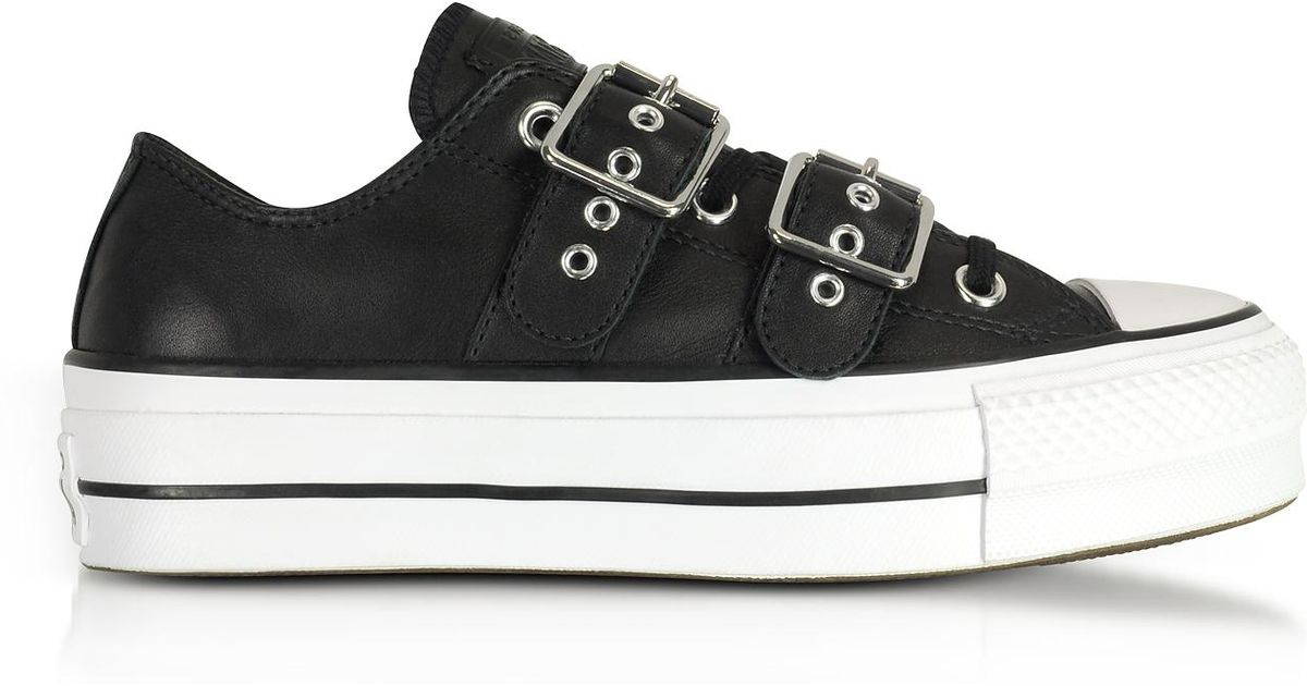 Converse Chuck Taylor All Star Lift Buckle Black Platform Sneakers in Black  - Lyst b00192680