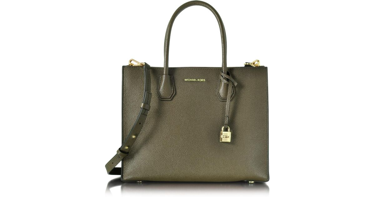 d2d80e9cdd65be Michael Kors Mercer Large Convertible Olive Green Bonded-leather Tote in  Green - Lyst