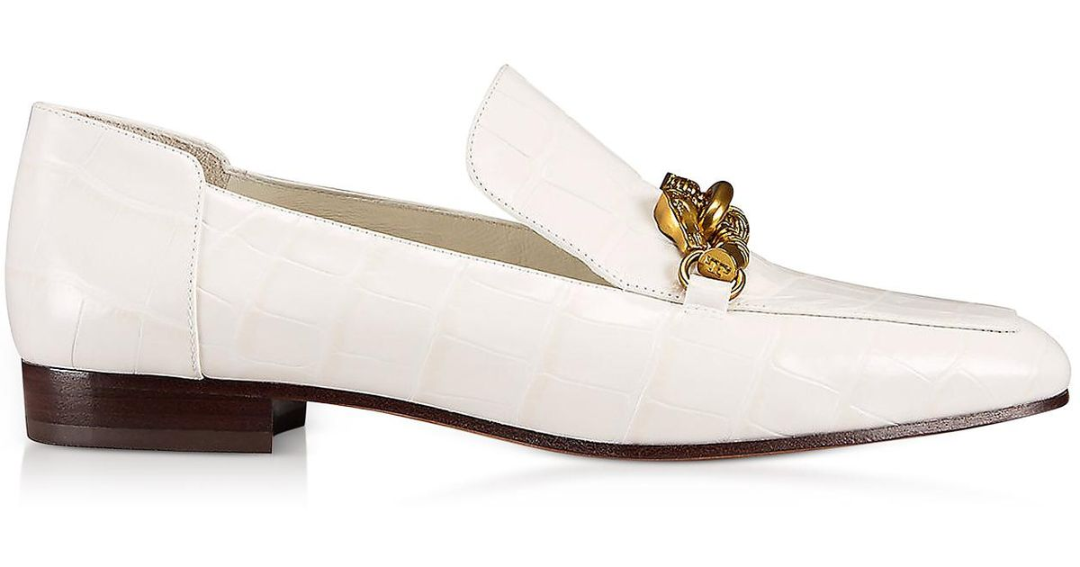 Cheap Sale Nicekicks Tory Burch Jessa White Croco Embossed Leather Loafers W-goldtone Horse Hardware Discount Ebay Fake Cheap Price Clearance Free Shipping LnDht8Vn