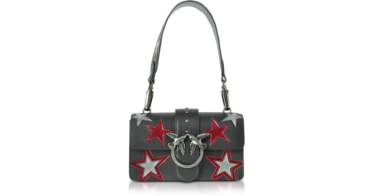 17ade3f33209 Lyst - Pinko Mini Love Stars Black Leather Shoulder Bag in Black