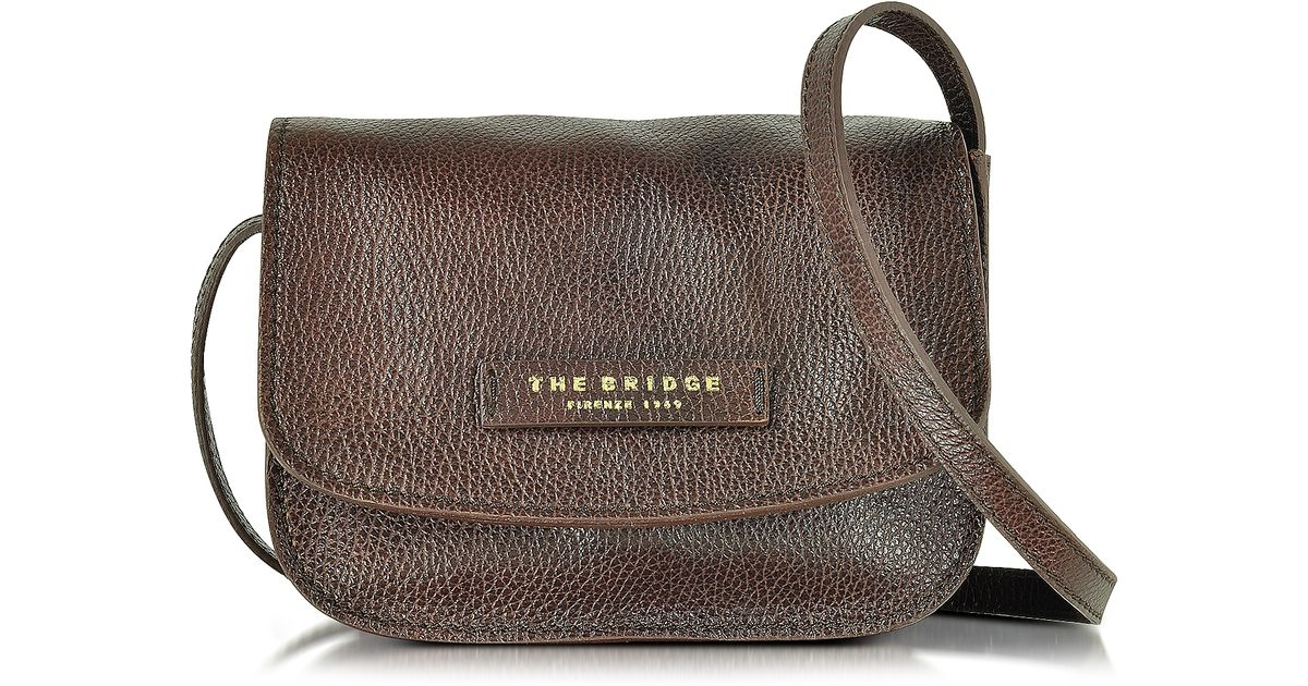 Lyst - The Bridge Plume Soft Donna Dark Brown Leather Crossbody Bag in Brown 9995ea2b0662b