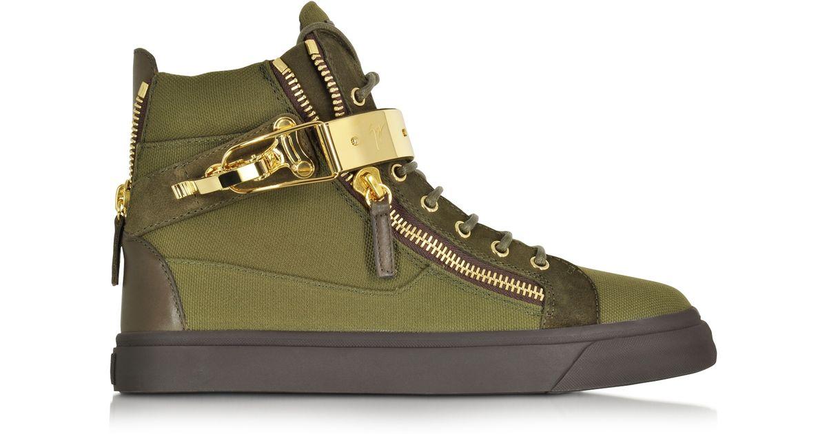 c450a0c985041 Lyst - Giuseppe Zanotti Military Green Canvas High Top Sneaker for Men