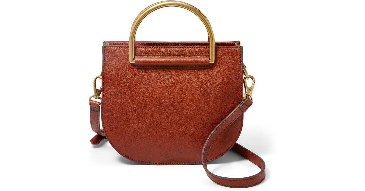 e653a29c7f463 Lyst - Fossil Nikki Small Crossbody Handbags Brandy