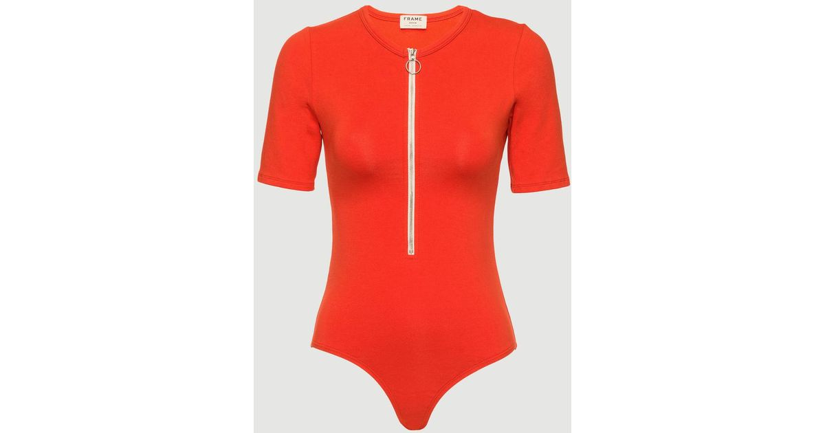 b3e3de5c1b Lyst - FRAME Zip Up Bodysuit in Red