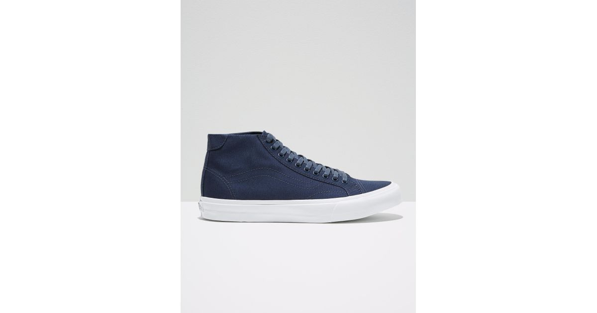 e7bc028548 Lyst - Frank And Oak Vans Canvas Court Mid In Dress Blue in Blue for Men
