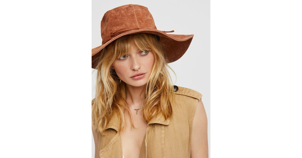Lyst - Free People Woodstock Suede Floppy Hat in Brown 6be1a43375a