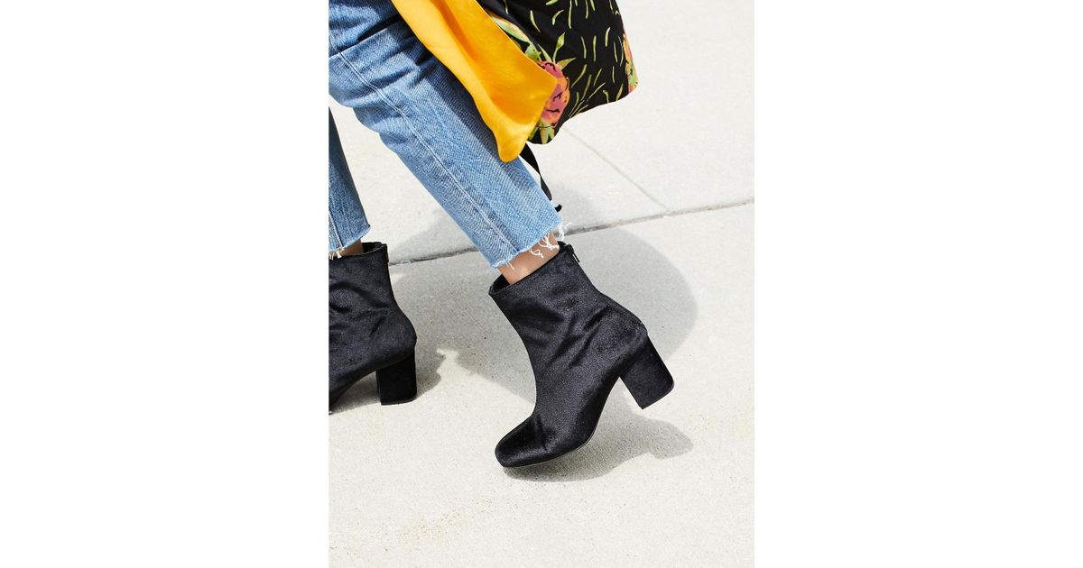 568f8012b4773 Lyst - Free People Velvet Cecile Ankle Boot in Black