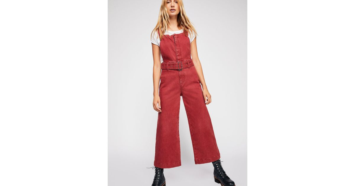 038fd9a0c57d Lyst - Free People Belted Twill Jumpsuit By We The Free in Red