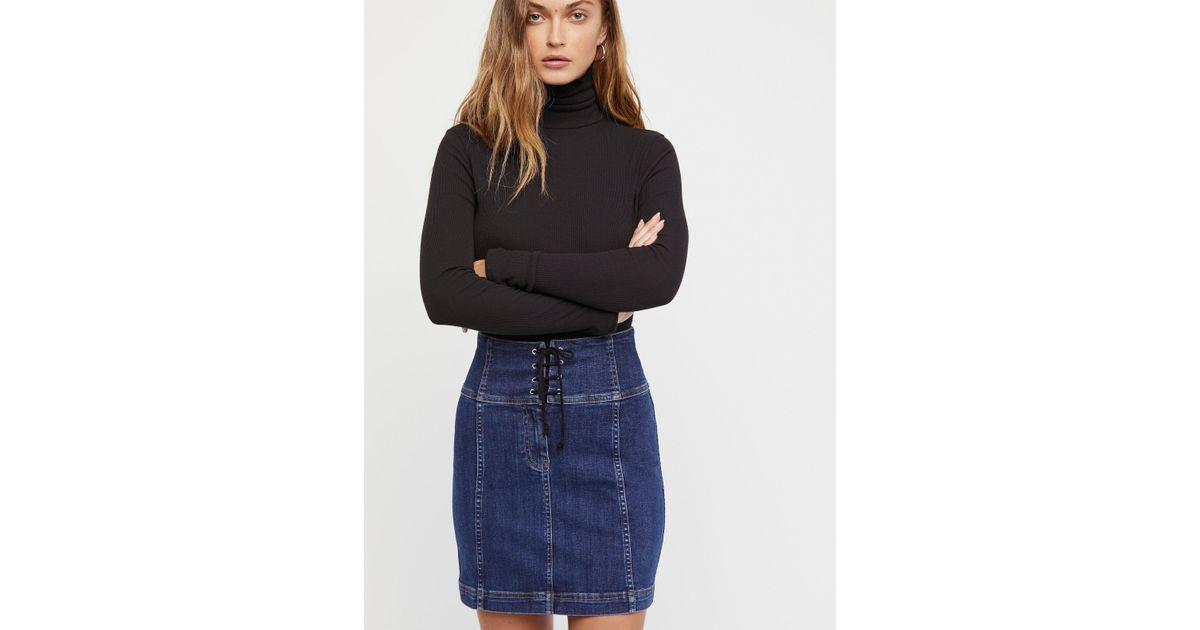 63340025a9a Lyst - Free People Modern Femme Corset Mini Skirt in Blue