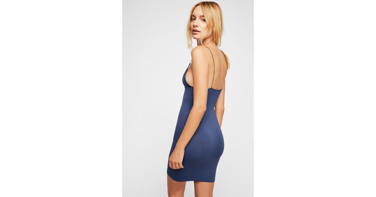 fc92db4462a3 Lyst - Free People Skinny Strap Bodycon Dress By Intimately in Blue