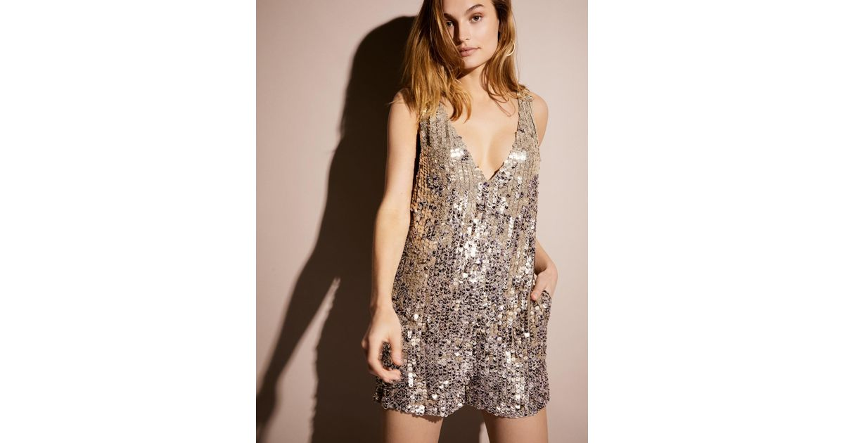 bfe0b073a68a Lyst - Free People Fool s Gold Sequin Romper in Metallic