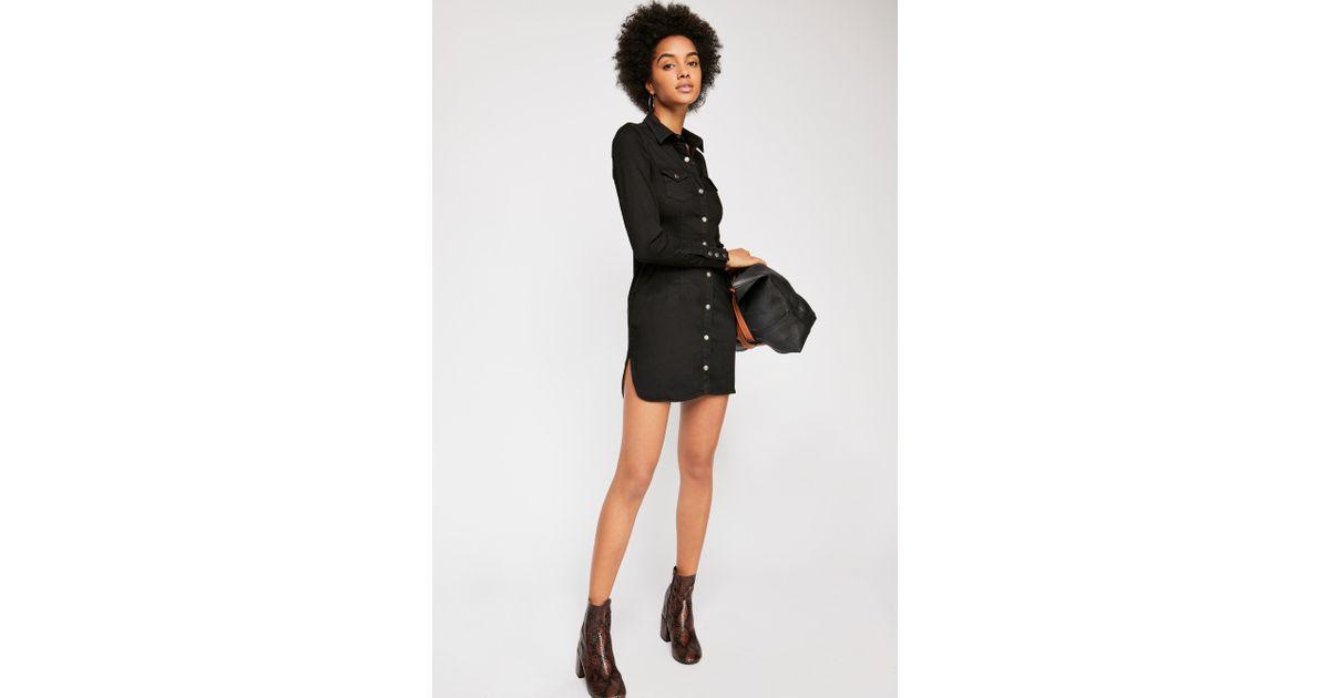 125e2549f29 Lyst - Free People Dynomite Denim Mini Dress in Black