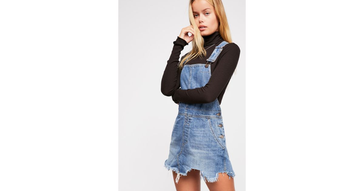 c1faa3c2e8 Free People Torn Up Pinafore Dress By We The Free in Blue - Lyst
