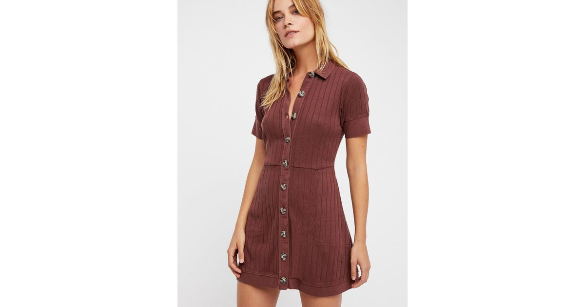 4f87ec1ffd87 Lyst - Free People New Afternoon Mini Dress in Brown