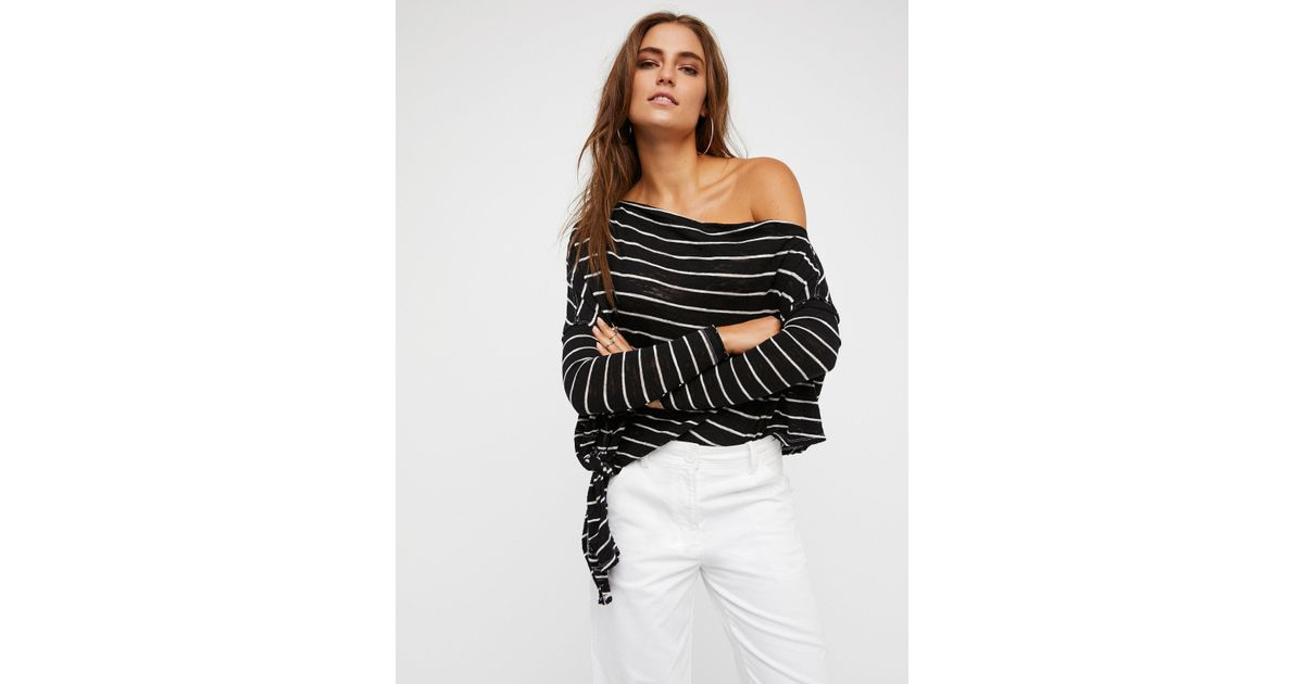 ea3fd9a278 Free People We The Free Striped Love Lane Tee in Black - Lyst