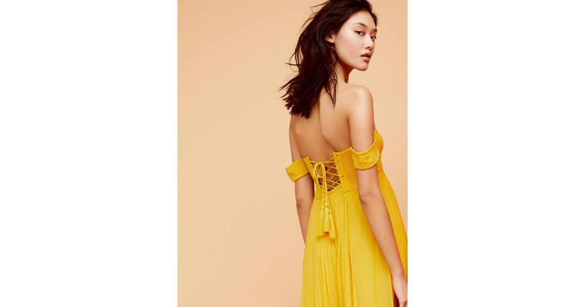 34405699634 Lyst - Free People Strawberry Swing Jumpsuit in Yellow