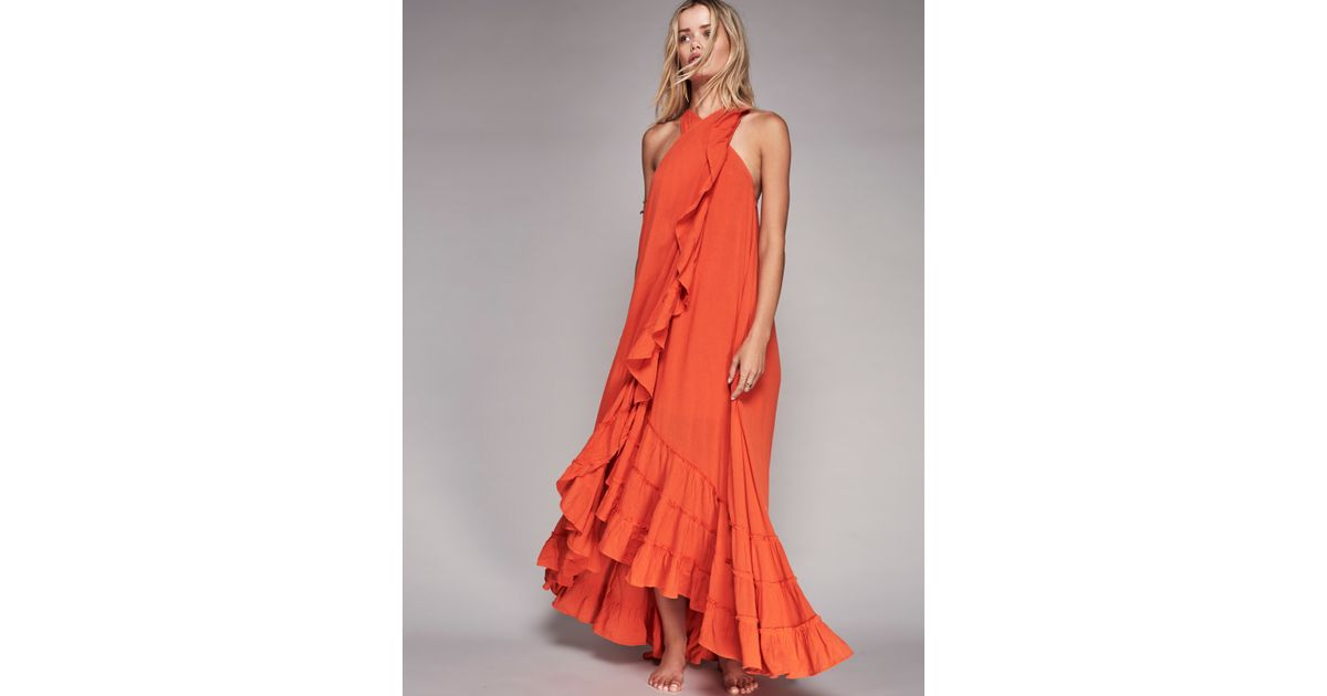 cb1a26deef Free People Wrap Around Maxi Dress in Orange - Lyst
