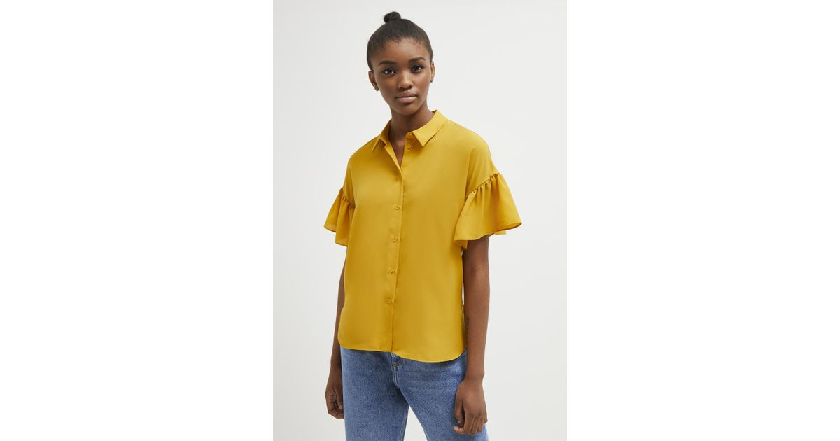 c0198dfb524 Lyst - French Connection Crepe Light Ruffle Sleeve Shirt in Yellow for Men