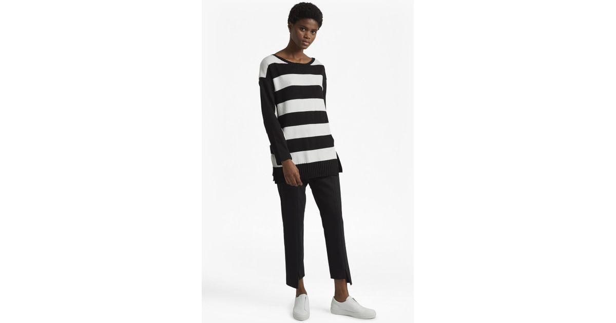 2e850222162 Lyst - French Connection Ollie Striped Knit Crew Neck Jumper in Black