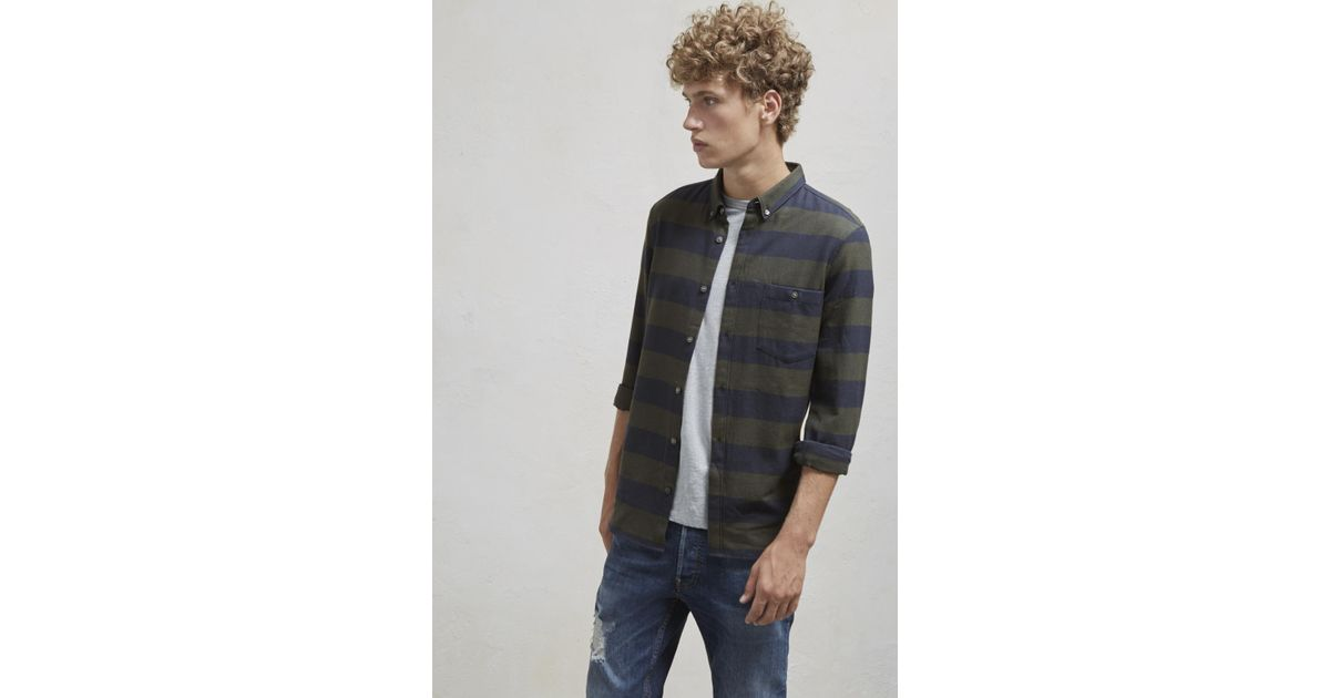 d82cb64a3 French Connection Classic Flannel Stripe Shirt for Men - Lyst