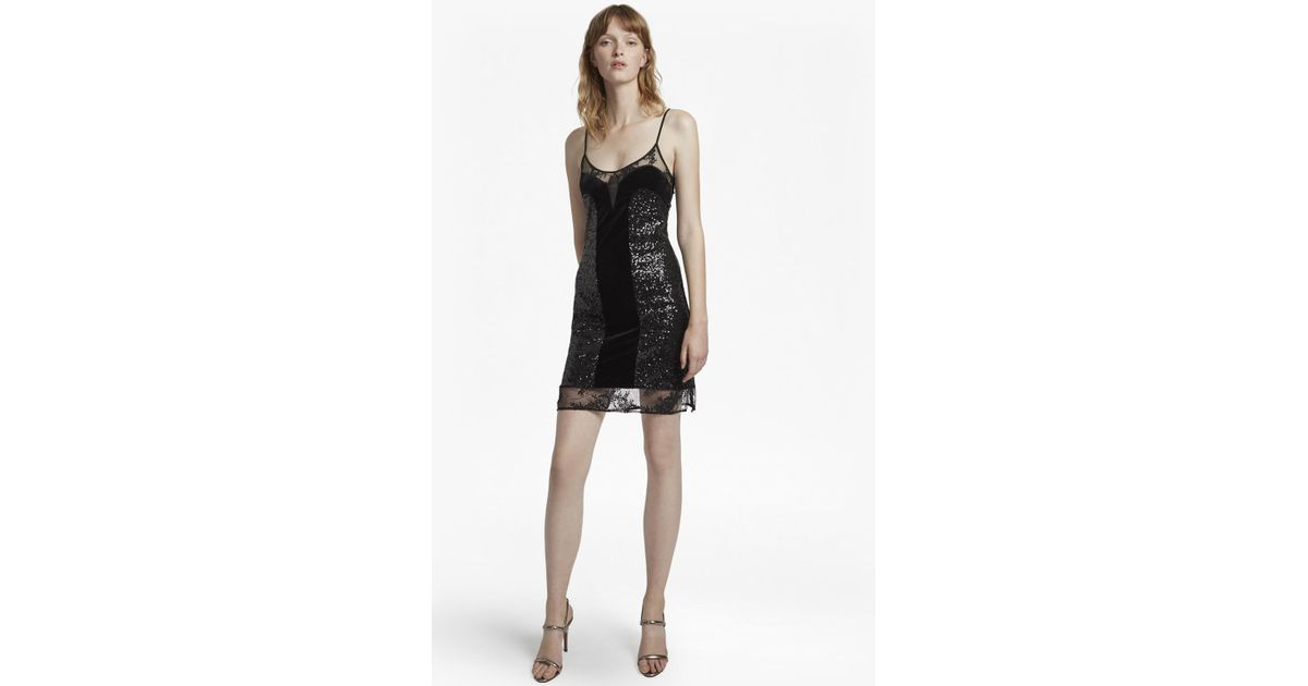 3e62169246419 French Connection Iris Sequin Jersey Strappy Dress in Black - Lyst