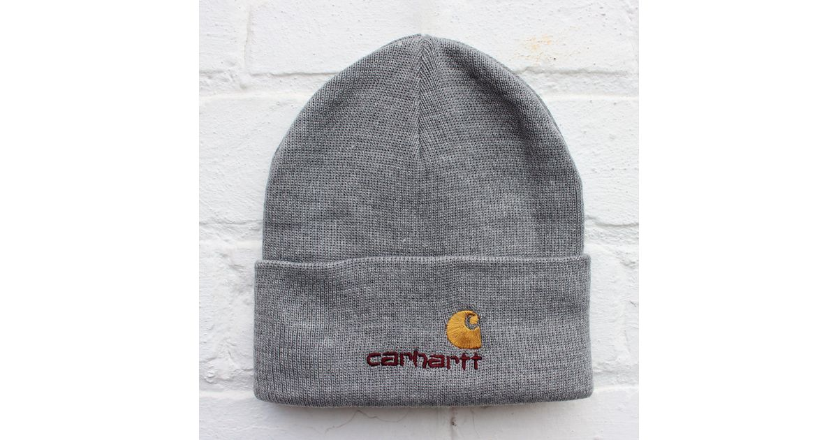 c9a398ff0da Carhartt Wip American Script Beanie in Gray for Men - Lyst
