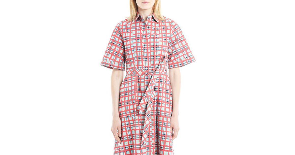 af9ec08d3761 Lyst - Robe chemise femme en coton à motif check peint Burberry en coloris  Rose
