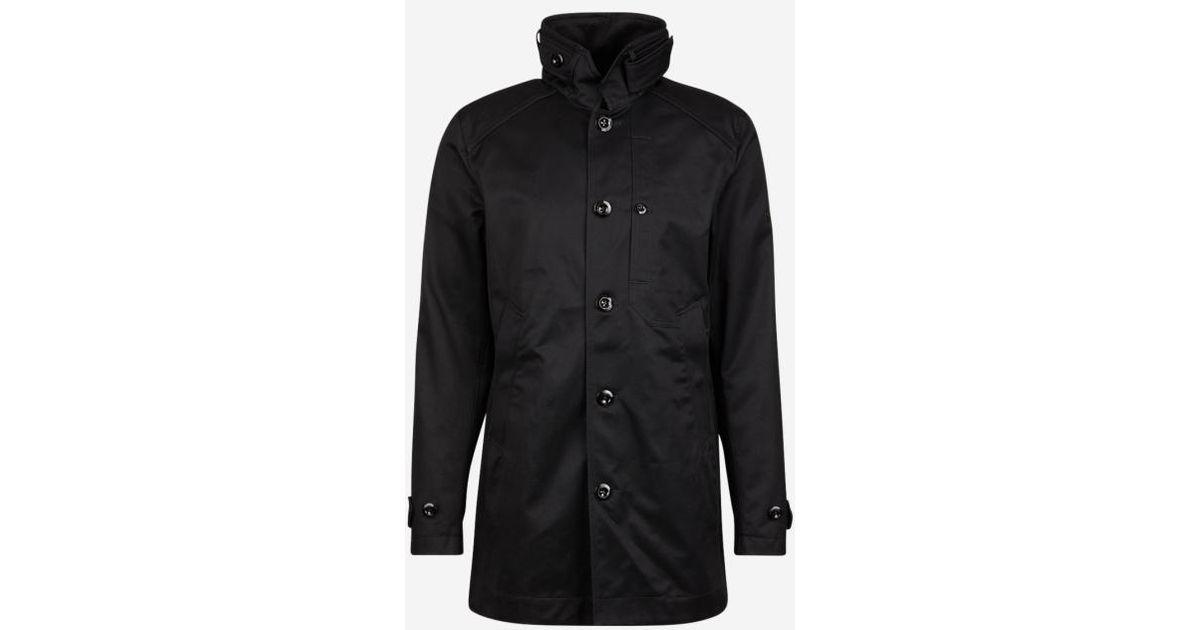 Lyst - Manteau long en twill de coton à col montant G-Star Raw pour homme  en coloris Noir 1336230a26cd