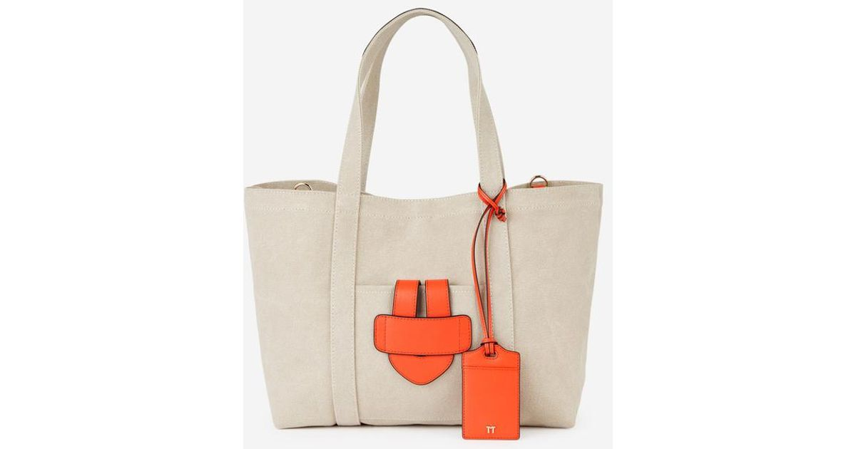 Cabas Canvas Et March Sac Tila Lyst Cuir Orange Bride Toile TJ3Kcul1F